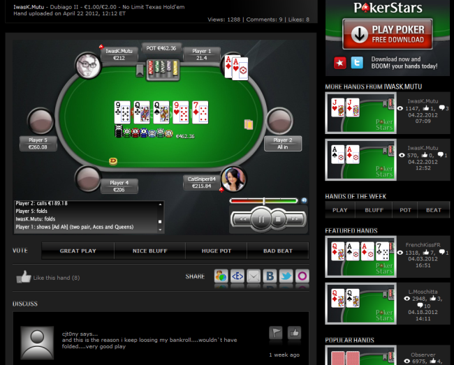 Pokerstars Boom Hand Replayer Video Review Of Boom Player